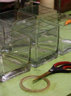 #1 - tape grid the top of the clear vases