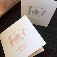 #Lief geboortekaartje met #silhouetjes van zusje of broertje of meerdere zusjes/broertjes! Alles is mogelijk! ook eigen huisdier kan erbij.