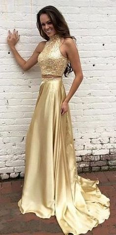 2016 homecoming dresses,Two Piece Prom Dresses, Champagne evening dresses,Gold prom dresses,Sequins homecoming dresses,Long Evening Gowns,beaded homecoming dresses,2 Pieces party dresses