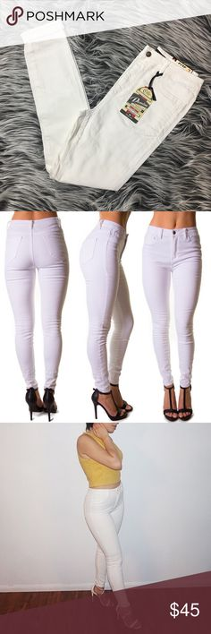 High Waisted White Skinny Jeans Super versatile jeans thats hugs your body from hip to ankle, has a stretchy high waisted fit that sits at your natural waist for a slim sleek look and a skinny silhouette. Finished with faux hip pockets, two back pockets and a zip fly, single button closure.  98% Cotton, 2% Spandex  Runs one size bigger. Example: If you are normally a size 9, I recommend getting a size 7. Color: White Pants Skinny