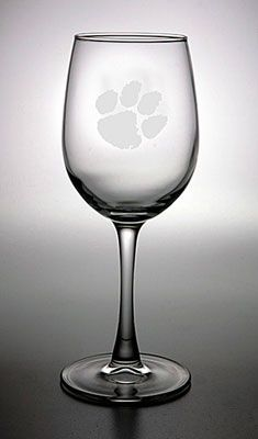 Clemson Tigers 12 oz Deep Etched White Wine Glass -- Need!