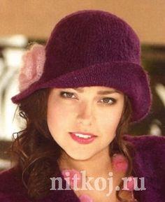 Фиолетовая шляпка спицами Knit Cowl, Knit Crochet, Crochet Hats, Hand Knitting, Knitting Patterns, Diy Hat, Beautiful Handbags, Scarf Hat, Beret