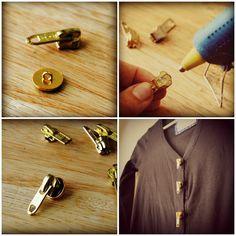 27 Most Popular DIY Fashion Ideas Ever, DIY Zipper buttons