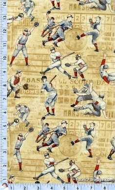 Who's On First - Vintage Baseball Players in Action - New, Elkabee's Fabric Paradise.com, LLC