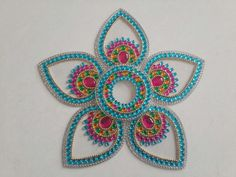 Kundan rangoli by Smita. Cd Crafts, Hobbies And Crafts, Paisley Drawing, Diwali Rangoli, Quilled Creations, Rangoli Designs, Dot Painting, Brick Stitch, Bohemian Gypsy