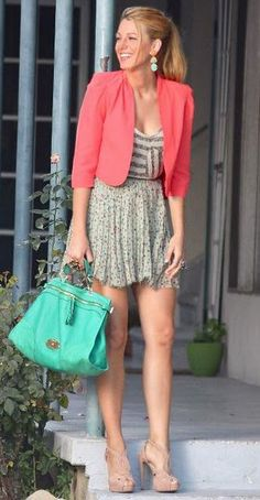 Love the Coral Jacket, Turquoise Bag