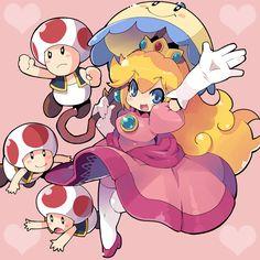 Princess Peach chibi version and Toad's