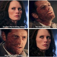 11x21 All In The Family // Lucifer!Cas: You're strong Amara. You may defeat him. But you will never be him.