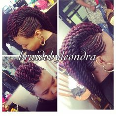 Box braids in braided bun Tied to the front of the head, the braids form a voluminous chignon perfect for an evening look. Box braids in side hair Placed on the shoulder… Continue Reading → Braided Mohawk Hairstyles, African Braids Hairstyles, My Hairstyle, Mohawk Braid, Braid Crown, Braided Mohawk Black Hair, Wedding Hairstyles, Braided Ponytail, Wedding Updo