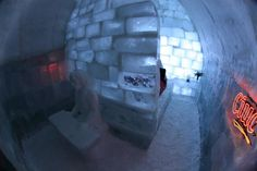 Amazing ice hotel set 2,000 metres above sea level by Bâlea Lake, in the Făgăraş Mountains... Though all spaces are made of ice, don't worry about getting cold, the Balea Ice Hotel provides you with warm reindeer furs and thermal blankets!