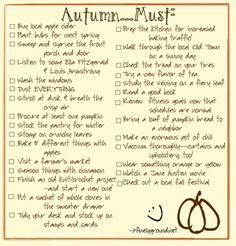 List of things to do this fall, both practical and sentimental.