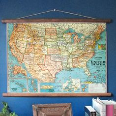 "1950 USA pull down map is printed on vellum paper, sized 19.5"" x 28.5"". The wood scroll extends out another inch on each side. Comes ready to hang, shipped in a tube. No assembly required. This is a b"
