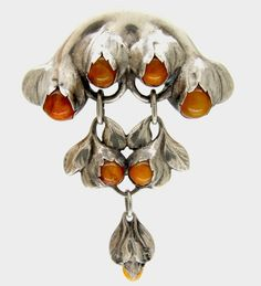 Evald Nielsen Amber & Silver Brooch - The Antique Jewellery Company