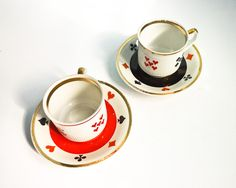 Set of 2 coffee tea cups poker bridge playing cards signs red black white.