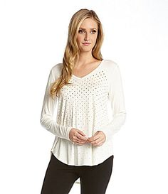 42cfbb719bc Karen Kane Studded White Long Sleeve Top available from Dillard s