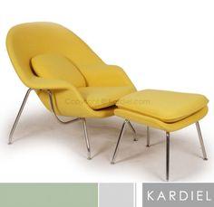 WOMB-CHAIR-OTTOMAN-CITRON-Boucle-Cashmere-Wool-modern-lounge-retro-vintage