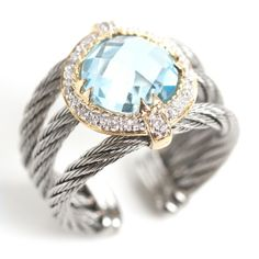 Charriol Nautical Blue Topaz Cable Ring