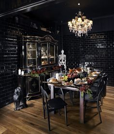 love the table, hutch, floor, ceiling, chandelier & walls; can do w/o the skeleton hanging in the corner or the dog(?) sculpture on the floor. (via Alfred & Constance, Brisbane | We Heart; Lifestyle & Design Magazine)