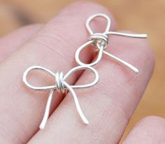 Bow Posts Studs Sterling Silver Wire by Karismabykarajewelry, $22.00