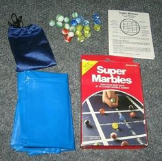34 glass marbles and a pouch LARGE TRADITIONAL SOLITAIRE boxed family game