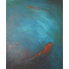Turquoise and orange koi fish painting