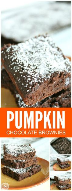 Pumpkin Chocolate Brownies! Super easy dessert recipe for Fall! Pumpkin Treats…