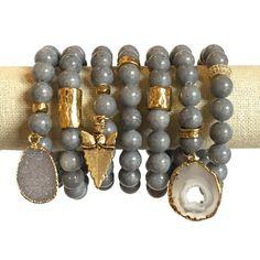 Gris Bracelet pile Speck / Jade / empilage Bracelets / Bracelets de superposition / Bracelet pierres précieuses / Druzy Bracelet