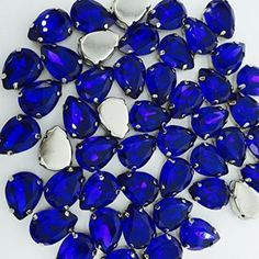 HONESH 30pcs Royal Blue color Teardrop Shape Sew on Glass Crystal Diamante Rhinestone Craft, 13x8x5.5mm, Hole: 1mm