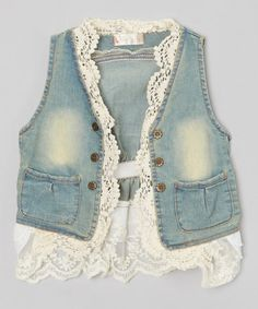 Another great find on #zulily! Denim & Lace Jean Jacket - Toddler & Girls #zulilyfinds