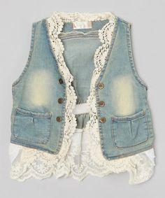 Look what I found on #zulily! Denim & Lace Jean Jacket - Toddler & Girls #zulilyfinds