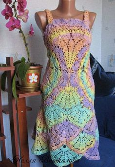 Irish crochet &: Сарафан веерами