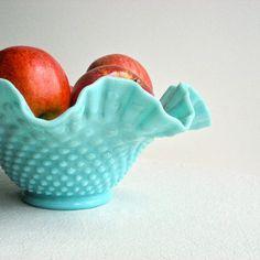 1950's Pastel Aqua Milk Glass Hobnail Bowl by Fenton