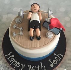21st Cake, Birthday Cakes For Men, Cakes For Boys, Cake Icing, Cupcake Cakes, Building Cake, Fitness Cake, Gym Cake, Cake Design For Men
