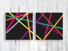 Geometric Print  Abstract Artwork on Canvas Colorful by LooveMyArt