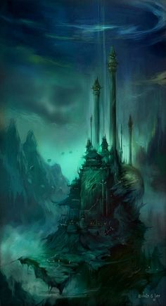 The overall theme of the picture I like because its very dark and mysterious its almost like a castle that you would see in Harry Potter. But I also like the ominous glow around the castle.