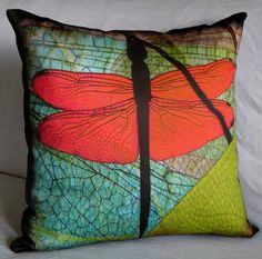 Pillow Cover  DRAGONFLY WINGS  Fits 18x18 Insert   by floorartetc, $55.00