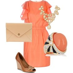 coral classy minus the shoes and ring. would love it with tan jessica simpsons