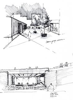A main levée sketches architecture sketchbook, art sketches Sketchbook Architecture, Architecture Design, Architecture Concept Drawings, Architecture Panel, Landscape Architecture, Landscape Design, Conceptual Sketches, Sketch Painting, Sketch Design