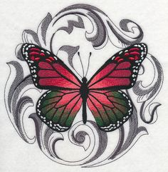 Christmas Butterfly with Baroque Background design (K2499) from www.Emblibrary.com