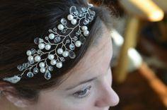 Jocelyn - Crystal and Freshwater Pearl Headpiece