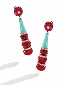 Bulgari Egyptian-inspired earrings set with eight red spinel beads, spaced by two turquoise cones, accented by round diamonds. Bulgari Jewelry, Jewellery Earrings, Red Spinel, Italian Jewelry, High Jewelry, Jewelry Box, Bvlgari, Earring Set, Antique Jewelry