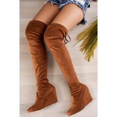 Over thee knee boots suede round toe drawstring wedge ($35) ❤ liked on Polyvore featuring shoes, boots, tan, over the knee boots, suede knee-high boots, over knee boots, tan suede boots and over-the-knee wedge boots