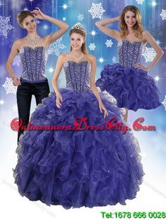 The Super Hot and Detachable Beading and Ruffles Quince Dresses in Royal Bule