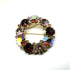Rhinestone Brooch - Vintage, Karu Arke Signed, Circular, Purple Aurora Broealis Pin by MyDellaWear on Etsy