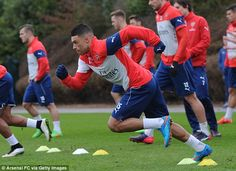 Oxlade-Chamberlain takes part in an Arsenal training session at London Colney...
