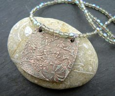 Handmade Copper Lilypad Pendant Beaded by PreciousSparkleGifts, £28.00