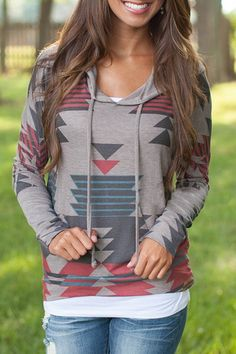 """NOVEMBER: I'm loving the geometric prints that are in right now, love this Rosegal """"Casual Geometric Pattern Long Sleeves Hoodie For Women."""""""