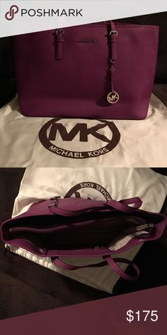 Large MK Purple Tote Used one time. Purple leather MK Tote. Great for college students. Fits a laptop plus books Michael Kors Bags Totes