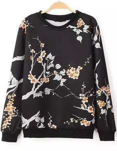 Shop Black Long Sleeve Vintage Floral Sweatshirt online. Sheinside offers Black Long Sleeve Vintage Floral Sweatshirt & more to fit your fashionable needs. Free Shipping Worldwide!