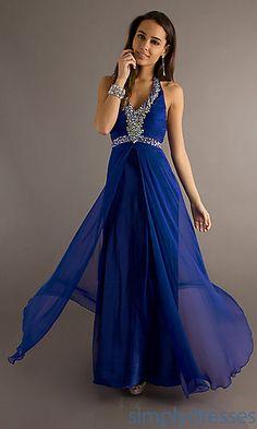 Long Halter Dress with Embellished Neckline at PromGirl.com